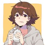 1boy alternate_costume bangs blush border brown_hair commentary cream cream_on_face cup food food_on_face grey_hoodie hair_between_eyes hands_up highres hilbert_(pokemon) holding holding_cup hood hoodie licking_lips long_sleeves looking_at_viewer male_focus mug outside_border p_(flavorppp) pokemon pokemon_(game) pokemon_bw short_hair sketch solo tongue tongue_out upper_body whipped_cream white_border
