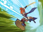 1girl armor eyebrows_visible_through_hair gloves hair_ornament headband highres japanese_clothes kamura_(armor) long_hair looking_at_viewer lyoung0j monster_hunter_(series) monster_hunter_rise orange_hair ponytail smile solo sword thigh-highs weapon