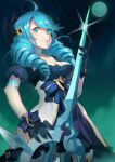 1girl ahoge black_gloves blue_eyes blue_hair breasts doll dress drill_hair frills gloves gwen_(league_of_legends) hair_ornament hair_ribbon holding holding_scissors jewelry league_of_legends long_hair looking_at_viewer medium_breasts moon necklace onigensou open_mouth outdoors ribbon scissors smile solo stitches teeth twin_drills weapon white_dress