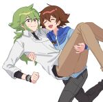 2boys bangs blue_jacket brown_hair carrying closed_mouth collared_shirt green_hair hair_between_eyes highres hilbert_(pokemon) jacket jewelry long_hair long_sleeves male_focus multiple_boys n_(pokemon) necklace open_mouth p_(flavorppp) pants pokemon pokemon_(game) pokemon_bw ponytail shirt simple_background smile sweat symbol_commentary teeth tongue undershirt white_background white_shirt wristband zipper_pull_tab |d