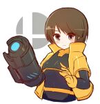 1girl alcohol arm_cannon bangs black_bodysuit blush bodysuit breasts brown_eyes brown_hair closed_mouth commentary_request dot_nose eyes_visible_through_hair gloves grey_background jacket light_smile looking_at_viewer mii_(nintendo) mii_gunner mii_gunner_(smash_ultimate) short_hair short_sleeves simple_background sketch solo super_smash_bros. suta_(clusta) upper_body weapon white_background yellow_gloves yellow_jacket