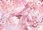 1girl absurdly_long_hair bare_shoulders branch cherry_blossoms cherry_hair_ornament commentary cowboy_shot detached_sleeves flower food_themed_hair_ornament hair_ornament hatsune_miku highres in_tree long_hair looking_at_viewer miniskirt necktie noneon319 pink_eyes pink_flower pink_hair pink_legwear pink_neckwear pink_skirt pink_sleeves pink_theme pleated_skirt sakura_miku shirt sideways_glance sitting sitting_in_tree sketch skirt sleeveless sleeveless_shirt smile solo thigh-highs tree twintails very_long_hair vocaloid white_shirt zettai_ryouiki