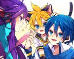 3boys animal_ears arm_warmers bass_clef black_collar blonde_hair blue_bodysuit blue_eyes blue_hair blue_scarf bodysuit cat_ears cat_tail cat_teaser coat collar collared_shirt commentary headphones headset highres kagamine_len kaho_0102 kaito kamui_gakupo long_hair looking_at_another male_focus multiple_boys necktie on_shoulder open_mouth purple_hair sailor_collar scarf school_uniform shirt short_hair sidelocks smile sparkle spiky_hair tail upper_body vocaloid white_coat white_shirt yellow_neckwear