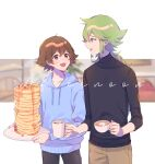 2boys :d alternate_costume blue_eyes blue_hoodie brown_eyes brown_hair collarbone cup eye_contact food green_hair highres hilbert_(pokemon) holding holding_cup holding_plate hood hoodie long_hair looking_at_another male_focus marshmallow mug multiple_boys n_(pokemon) open_mouth p_(flavorppp) pancake pants plate pokemon pokemon_(game) pokemon_bw ponytail sleeves_past_elbows smile sweater symbol_commentary syrup turtleneck turtleneck_sweater