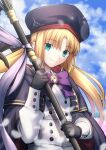1girl artoria_pendragon_(all) artoria_pendragon_(caster)_(fate) blonde_hair blue_sky blurry bokeh buttons cape clouds cowboy_shot depth_of_field double-breasted eyebrows_visible_through_hair fate/grand_order fate_(series) green_eyes hat highres long_hair looking_at_viewer migiha neck_ribbon purple_ribbon ribbon sky smile solo staff twintails type-moon