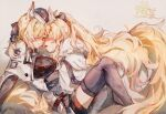 2girls animal_ears arknights artist_name aunt_and_niece black_bow black_headwear black_legwear black_ribbon blemishine_(arknights) blonde_hair blush bow chinese_commentary closed_eyes commentary_request face-to-face facing_another hair_bow hair_ribbon hat highres horse_ears horse_girl horse_tail incest long_hair long_sleeves moyu_marginal multiple_girls ponytail ribbon tail thigh-highs very_long_hair whislash_(arknights) yuri