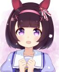 1girl :d animal_ears bangs blunt_bangs blush bow brown_hair clenched_hands collarbone commentary ear_covers eyebrows_visible_through_hair gradient gradient_background hair_ornament hair_ribbon hairband hairclip hands_up happy horse_ears ixia_(ixia424) looking_at_viewer nishino_flower_(umamusume) open_mouth pink_hairband portrait purple_bow purple_shirt ribbon sailor_collar school_uniform shirt short_hair smile solo tracen_school_uniform umamusume violet_eyes white_sailor_collar x_hair_ornament