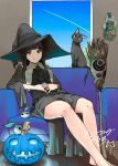 1girl absurdres bangs barefoot black_hair black_skirt broom cat chito_(flying_witch) closed_mouth couch cross-laced_clothes flying_witch green_eyes halloween hands_on_own_stomach hat highres interlocked_fingers ishizuka_chihiro jack-o'-lantern kowata_makoto long_hair long_skirt long_sleeves looking_at_viewer official_art on_couch side_slit signature sitting skirt smile solo straight_hair wide_sleeves witch_hat