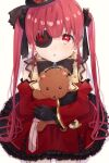 1girl arrow_through_heart black_gloves black_ribbon blush breasts brooch detached_sleeves dress eyepatch frilled_dress frills from_above gloves gold_trim gothic_lolita highres holding holding_stuffed_toy hololive houshou_marine jewelry kneeling lolita_fashion long_hair long_sleeves looking_at_viewer object_hug official_alternate_costume pocket_watch red_dress red_eyes ribbon shiny shiny_hair sidelocks sleeveless sleeveless_dress solo stuffed_animal stuffed_toy teddy_bear twintails virtual_youtuber vvvrkgk watch white_background younger