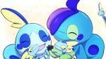 character_doll closed_eyes closed_mouth commentary_request doll drizzile gen_8_pokemon highres holding holding_doll inteleon marutto_inte no_humans open_mouth pokemon pokemon_(creature) smile sobble starter_pokemon tongue |d
