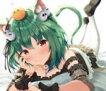 1girl :t absurdres animal_ears bangs bed_sheet bird blush breasts cat_ears cat_tail chick collarbone commentary_request dress eyebrows_visible_through_hair fang frilled_dress frills green_hair hair_ornament hair_ribbon highres hololive kimae legs_up loafers looking_at_viewer lying medium_hair on_stomach red_eyes ribbon shoes sidelocks simple_background skull_collar skull_hair_ornament small_breasts smile solo tail the_pose thigh-highs uruha_rushia virtual_youtuber white_background white_legwear