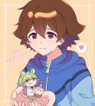 2boys :t animal_ears bangs blue_eyes blue_jacket blush brown_eyes brown_hair candle closed_mouth commentary eating eyelashes fire flame food food_on_face framed green_hair hair_between_eyes hands_up happy_birthday heart hilbert_(pokemon) holding jacket long_hair male_focus miniboy multiple_boys n_(pokemon) p_(flavorppp) pokemon pokemon_(game) pokemon_bw sitting smile spoken_heart tail upper_body zipper_pull_tab