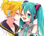 1boy 1girl aqua_eyes aqua_hair aqua_neckwear bare_shoulders bass_clef black_collar black_sleeves blonde_hair cheek_kiss closed_eyes collar collared_shirt commentary detached_sleeves grey_shirt hair_ornament hatsune_miku headphones headset hetero highres kagamine_len kaho_0102 kiss long_hair necktie one_eye_closed open_mouth sailor_collar school_uniform shirt short_ponytail shoulder_tattoo sleeveless sleeveless_shirt smile spiky_hair tattoo twintails upper_body vocaloid white_shirt yellow_neckwear