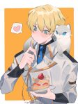1boy absurdres black_shirt blonde_hair blue_eyes blue_neckwear blush border cake eating ferret food heart highres hiyamaru holding holding_plate holostars jacket kishido_temma lazy_fish male_focus necktie plate shirt short_hair simple_background spoken_heart spoon upper_body virtual_youtuber white_border white_jacket
