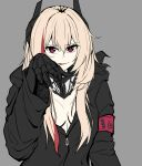 1girl black_jacket black_scarf blonde_hair breasts eyebrows_visible_through_hair girls_frontline grey_background highres jacket long_hair looking_at_viewer loveu m4_sopmod_ii_(girls_frontline) mechanical_arms multicolored_hair open_clothes open_jacket red_eyes scarf single_mechanical_arm solo tongue tongue_out