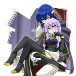 alternate_costume bare_shoulders black_gloves black_jacket black_legwear blue_eyes blue_hair boots carrying carrying_against_hip chair corruption crossed_legs crystal dark_persona elbow_gloves evil_smile fire_emblem fire_emblem:_genealogy_of_the_holy_war forehead_jewel gloves heterochromia high_heel_boots high_heels jacket julia_(fire_emblem) lipstick long_hair loptous_(fire_emblem) makeup possessed purple_hair red_eyes seliph_(fire_emblem) sitting smile thigh-highs thigh_boots thighs watermark white_background white_gloves yukia_(firstaid0)