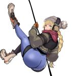 1girl absurdres ass back blonde_hair blue_eyes boots braid braided_ponytail brown_jacket closed_mouth eyebrows_visible_through_hair girls_frontline gloves grey_headwear headphones highres holding holding_rope jacket leggings legs legs_up long_hair looking_at_viewer loveu orange_gloves red_scarf rope scarf solo spandex thighs vhs_(girls_frontline) white_background