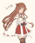 1girl bangs beige_background blunt_bangs boots brown_eyes brown_hair commentary_request cosplay cowboy_shot detached_sleeves hairband haruna_(kancolle) haruna_(kancolle)_(cosplay) headgear helena_(kancolle) japanese_clothes kantai_collection long_hair looking_at_viewer ribbon-trimmed_sleeves ribbon_trim solo thigh-highs thigh_boots wss_(nicoseiga19993411)
