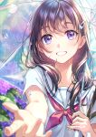 1girl :d bangs blue_eyes blush brown_hair collarbone commentary_request day eyebrows_visible_through_hair flower grin hair_ornament hairclip highres holding holding_umbrella hydrangea long_hair looking_at_viewer morikura_en neckerchief open_mouth original outdoors outstretched_arm rain red_neckwear sailor_collar school_uniform serafuku shirt short_sleeves smile solo sunlight teeth transparent transparent_umbrella umbrella water water_drop white_sailor_collar white_shirt