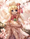 1girl :d absurdres artist_name blonde_hair blue_eyes blurry blurry_background blurry_foreground bow bowtie capelet cherry_blossoms depth_of_field dress eyebrows_visible_through_hair fairy_wings flower frilled_capelet frilled_dress frilled_sleeves frills hat highres holding light_rays lily_white long_hair long_sleeves looking_at_viewer open_mouth outdoors petals power-up pudding_(skymint_028) red_bow red_neckwear signature smile solo sunlight touhou white_dress white_headwear wide_sleeves wings