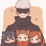 1girl 3boys animal_ear_fluff animal_ears artist_name bangs black_blindfold black_hair black_jacket blindfold brown_background brown_eyes brown_hair cat_boy cat_ears chibi closed_mouth covered_eyes facial_mark facing_viewer fushiguro_megumi gakuran gojou_satoru green_eyes high_collar hood hood_down hoodie itadori_yuuji jacket jujutsu_kaisen kikyo_yanagi kugisaki_nobara looking_at_viewer multiple_boys red_hoodie school_uniform short_hair simple_background smile spiky_hair swept_bangs tail upper_body white_hair yellow_eyes