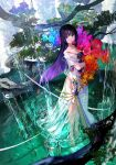 1girl bare_shoulders barefoot black_hair blue_flower bouquet closed_mouth commentary_request dress eyebrows_visible_through_hair fish flower fuzichoco highres holding holding_bouquet leaf looking_at_viewer mountain multicolored_hair no_shoes orange_flower original pool purple_flower purple_hair red_flower see-through_dress solo strapless strapless_dress tagme tree tree_branch two-tone_hair violet_eyes water white_dress