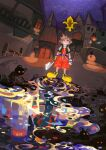1boy absurdres artist_name belt blue_eyes chair door fingerless_gloves gloves heartless highres jacket keyblade kingdom_hearts lamppost night night_sky outdoors red_shorts shoes short_sleeves shorts shuumatsu_(lulux_woodoo) sky sora_(kingdom_hearts) spiky_hair standing subarashiki_kono_sekai table white_gloves yellow_footwear