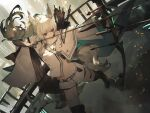 1girl absurdres animal_ear_fluff animal_ears arknights arrow_(projectile) bangs bare_shoulders belt bow_(weapon) breasts brown_eyes building closed_mouth eyebrows_visible_through_hair highres holding holding_arrow holding_bow_(weapon) holding_weapon horse_ears kenseeeeeeee long_hair long_sleeves midriff platinum_(arknights) quiver shorts silver_hair solo stomach tail thighs very_long_hair weapon white_hair white_shorts