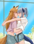 2girls absurdres animal_ears arknights arms_around_neck auxinouskii belt blue_sky brown_eyes cowboy_shot dragon_girl dragon_horns dragon_tail fox_ears fox_girl fox_tail franka_(arknights) grass grey_hair hand_under_clothes highres horns imminent_kiss liskarm_(arknights) long_hair loose_belt midriff multiple_girls navel orange_hair ponytail purple_shirt shirt shorts sidelocks sky tail tail_through_clothes undressing_another white_shirt window yuri