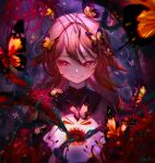 1girl black_nails brown_hair bug butterfly chinese_clothes eyelashes flower genshin_impact ghost glaring highres horror_(theme) hu_tao insect long_hair looking_at_viewer min_miyamoto nail_polish open_mouth red_eyes sharp_teeth smile solo teeth twintails
