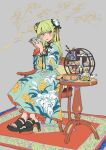 1girl carpet chair chinese_clothes chizu_(mikankanntenn) cup dress floral_print flower food green_eyes grey_background highres holding holding_cup light_smile long_dress long_sleeves looking_at_viewer original platform_footwear platform_heels side_bun simple_background sitting sweets teapot tree trinkets wooden_table yellow_eyes