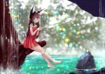 1girl alternate_costume azur_lane bangs bare_shoulders black_hair blunt_bangs casual commentary_request contemporary dress eyebrows_visible_through_hair full_body horizon lake long_hair looking_at_viewer m_ko_(maxft2) nagato_(azur_lane) off-shoulder_dress off_shoulder red_dress rock sidelocks solo tree yellow_eyes