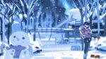 1girl bangs black_pants boots breath building closed_eyes earmuffs edoya_inuhachi fence hands_up highres hood hood_down long_sleeves original pants plant scarf shovel snow snowman solo standing wide_shot winter_clothes