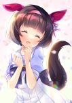 1girl :d ^_^ animal_ears bangs black_hair blurry blurry_foreground closed_eyes depth_of_field eyebrows_visible_through_hair facing_viewer hair_ornament hairband hairclip hands_up head_tilt highres horse_ears horse_girl horse_tail ko_yu nishino_flower_(umamusume) open_mouth pink_hairband pleated_skirt puffy_short_sleeves puffy_sleeves purple_shirt school_uniform shirt short_hair short_sleeves skirt smile solo tail tracen_school_uniform umamusume white_skirt x_hair_ornament