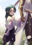 2boys ahoge arm_tattoo baggy_pants bangs black_hair blurry blurry_foreground blush brown_hair child cloud_print diamond-shaped_pupils diamond_(shape) english_commentary eyeshadow facial_mark flower forehead_mark genshin_impact grass green_hair highres holding holding_flower holding_hands long_hair looking_at_viewer makeup male_focus multicolored_hair multiple_boys nikkipettt open_mouth pants parted_bangs petals ponytail red_eyeshadow sidelocks slit_pupils symbol-shaped_pupils symbol_commentary tattoo two-tone_hair white_flower wide_sleeves xiao_(genshin_impact) yellow_eyes younger zhongli_(genshin_impact)