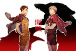 2boys bangs black_hair crossed_arms eye_contact face-to-face grey_hair haikyuu!! hand_on_hip hieroglyphics jacket jacket_on_shoulders kita_shinsuke looking_at_another male_focus multiple_boys profile sawamura_daichi shiraumi8351 short_hair simple_background smile sportswear standing volleyball_uniform