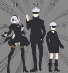 1girl 2boys bangs black_blindfold black_choker black_dress black_footwear black_gloves black_hairband black_jacket black_legwear black_shorts blindfold boots breasts choker closed_mouth covered_eyes crossover dress gloves gojou_satoru grey_background hairband hand_in_pocket high_collar high_heel_boots high_heels highres jacket jujutsu_kaisen kneehighs multiple_boys nier_(series) nier_automata pants pun short_hair shorts silver_hair simple_background small_breasts standing sweat thigh-highs thigh_boots yorha_no._2_type_b yorha_no._9_type_s yunan_(twyunan)