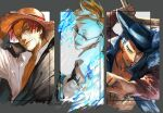 3boys artist_name beard black_coat black_eyes black_hair black_headwear blonde_hair blue_fire chest_tattoo closed_mouth coat collared_shirt commentary_request cross cross_necklace dracule_mihawk facial_hair fingernails fire glasses grey_eyes hand_on_headwear hat holding holding_weapon jewelry latin_cross looking_at_viewer looking_away looking_to_the_side male_focus marco multiple_boys mustache necklace nisir0 one_piece open_clothes open_shirt outside_border over-rim_eyewear plume redhead scar scar_across_eye semi-rimless_eyewear shanks shirt short_hair smile straw_hat tattoo twitter_username upper_body weapon white_shirt yellow_eyes