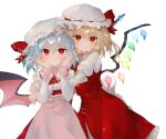 2girls absurdres ascot bat_wings blonde_hair blush brooch closed_mouth commentary_request cowboy_shot crystal dress eyebrows_visible_through_hair flandre_scarlet hands_on_own_cheeks hands_on_own_face hat highres hug huge_filesize jewelry juliet_sleeves long_sleeves looking_at_viewer mob_cap multiple_girls omodaka_romu pink_dress puffy_sleeves red_dress red_eyes red_neckwear remilia_scarlet short_hair siblings sisters smile touhou transparent_background upper_body white_headwear wings yellow_neckwear