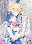 1boy 1girl bishoujo_senshi_sailor_moon blonde_hair blue_dress blue_eyes blue_hair blue_ribbon bouquet breasts cape card_(medium) choker closed_eyes collarbone commission couple dress earrings email_address flower gloves grin hetero highres holding holding_bouquet hug jewelry koya long_hair medium_breasts mizuno_ami pink_flower ribbon ribbon_choker shiny shiny_hair short_hair sleeveless sleeveless_dress smile very_long_hair watermark white_cape white_gloves