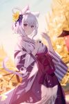 1girl animal animal_ear_fluff animal_ears bangs blush breasts cat cat_ears cat_girl cat_tail day eyebrows_visible_through_hair feet_out_of_frame flower food ginkgo_leaf grey_cat hair_flower hair_ornament hakama highres holding holding_food hololive japanese_clothes kaneko_(bblogtinhan) kimono long_sleeves medium_breasts nekomata_okayu onigiri outdoors parted_lips pink_hair purple_flower purple_hakama purple_kimono short_hair smile solo standing tail violet_eyes wide_sleeves yellow_flower yukata