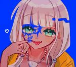 1girl :p ameko53133 bangs blue_background collarbone danganronpa_(series) danganronpa_v3:_killing_harmony eyebrows_visible_through_hair face green_eyes hand_up heart jacket jewelry looking_at_viewer necklace orange_jacket paint_on_face shell_necklace solo tongue tongue_out upper_body yonaga_angie
