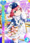 blush character_name dress green_eyes kurosawa_ruby love_live!_school_idol_festival love_live!_sunshine!! pink_hair short_hair smile wink winter