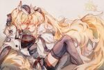 2girls absurdres animal_ears arknights artist_name aunt_and_niece black_bow black_headwear black_legwear black_ribbon blemishine_(arknights) blonde_hair blush bow chinese_commentary closed_eyes commentary_request face-to-face facing_another hair_bow hair_ribbon hat highres horse_ears horse_girl horse_tail incest long_hair long_sleeves moyu_marginal multiple_girls ponytail ribbon tail thigh-highs very_long_hair whislash_(arknights) yuri
