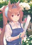1girl alternate_costume animal_ears apron blue_apron blush bow brown_hair commentary_request daiwa_scarlet_(umamusume) flower garden green_ribbon hair_bow holding holding_flower holding_ribbon horse_ears horse_girl long_hair outdoors paayan_(hagakinorock54) red_bow red_eyes red_flower red_rose ribbon rose shirt smile solo tiara twintails umamusume upper_body very_long_hair white_shirt