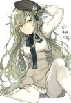 1boy bad_id bad_pixiv_id beret butterfly_ornament closed_eyes closed_mouth frown fukuda935 green_eyes green_hair hat hat_ornament long_hair looking_at_viewer male_focus otoko_no_ko pantyhose petticoat pinocchio_(sinoalice) reality_arc_(sinoalice) ribbon sad sidelocks signature sinoalice sitting skirt solo suspender_skirt suspenders white_background white_legwear