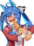 1girl @_@ animal_ears blue_eyes blue_hair carrot commentary_request guinea_pig heterochromia highres horse_ears horse_girl horse_tail molcar nonco potato_(pui_pui_molcar) pui_pui_molcar season_connection sharp_teeth simple_background tail teeth track_suit tug_of_war twin_turbo_(umamusume) twintails umamusume upper_body violet_eyes white_background