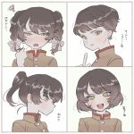 1girl alternate_hairstyle blush braid brown_hair chi-hatan_military_uniform embarrassed girls_und_panzer green_eyes highres hosomi_shizuko medium_hair ponytail short_hair smile squiggle sweatdrop tama_launcher tsurime twin_braids upper_body variations