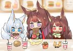 3girls akagi_(azur_lane) amagi_(azur_lane) animal_ears azur_lane bangs blue_eyes blunt_bangs blurry brown_hair commentary_request depth_of_field drinking_straw eating eyebrows_visible_through_hair fang food fox_ears fox_girl fox_tail french_fries hair_ornament hamburger highres holding japanese_clothes kaga_(azur_lane) kyuubi long_hair looking_at_viewer menu_board multiple_girls multiple_tails open_mouth putimaxi red_eyes sidelocks soft_drink sparkle tail thick_eyebrows toy violet_eyes white_hair wide_sleeves