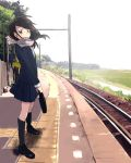 black_hair brown_eyes kneehighs lowres original outdoors outside scarf school_uniform skirt socks train_station zukki_(suzukio)